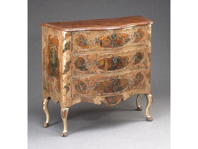 A Fine Sicilian Rococo silver and parcel gilt polychrome decorated pastiglia commode Third quarter 18th century