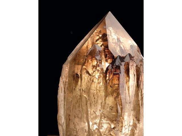LARGE SMOKEY QUARTZ POINT ON STAND, MINAS GERAIS, BRAZIL, 700 LBS.