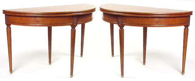 A pair of Directoire style demilune games
