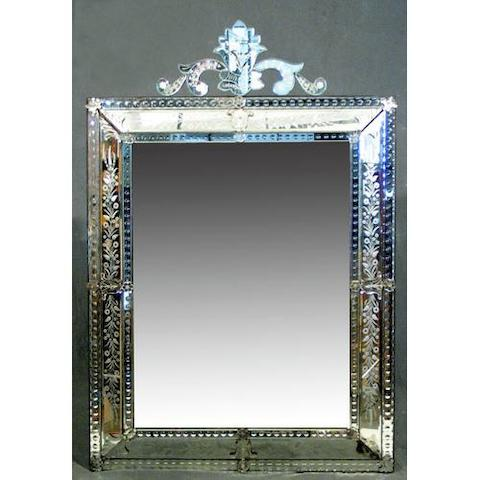 A Venetian etched wall mirror