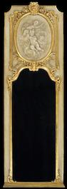 A Louis XVI style painted and parcel gilt trumeau mirror