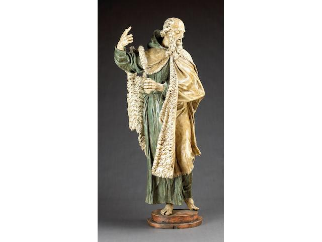 A Spanish polychrome carved wood figure of St. John the Baptist