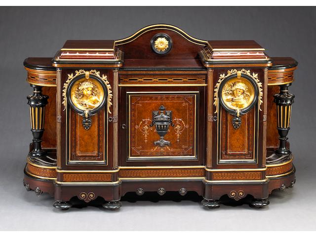 An American Neo-Grec rosewood parcel gilt and ebonized, inlaid and bronze mounted side board, attributed to Pottier & Stymus, New York, circa 1870-1890