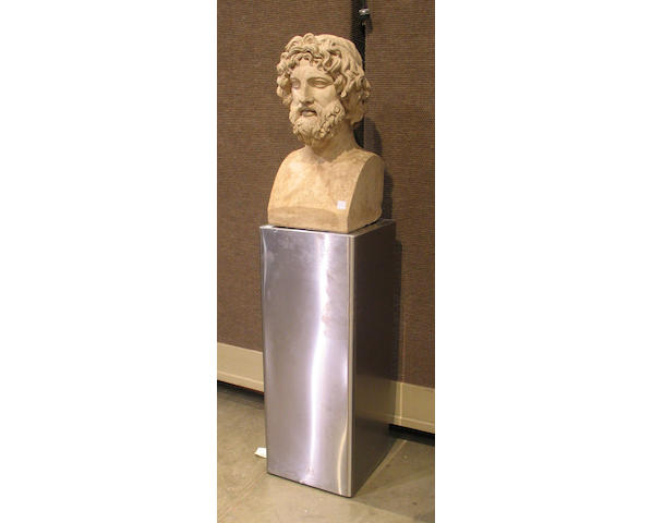 A Coadestone terracotta bust of an ancient, 20th Century, inscribed Coade's Terra-cotta Lambeth, together with a brushed aluminum rectangular square pedestal