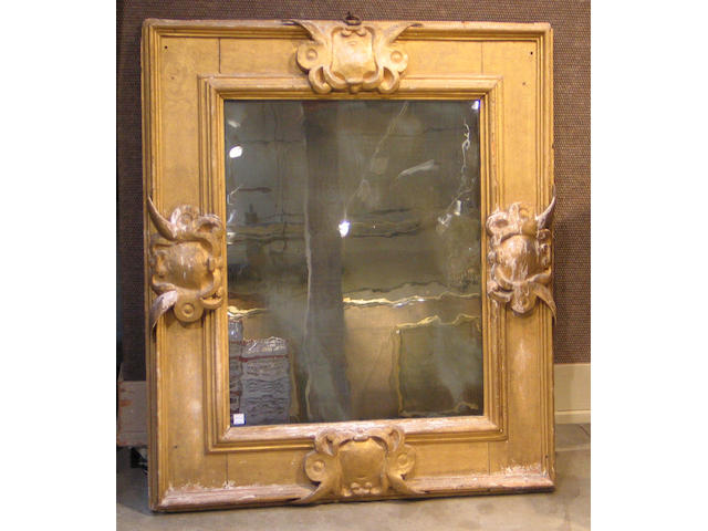 A Baroque giltwood mirror, Italian or Spanish, 17th/18th Century (gilding distressed)