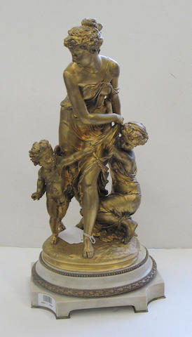 A French gilt bronze figural group of Diana and Cupid