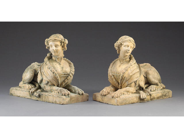 A pair of Continental terracotta sphinx