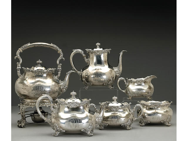Victorian Sterling Six Piece Tea & Coffee Set by Bailey, Banks & Biddle, with Case