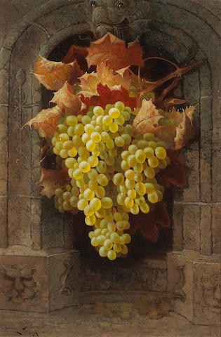 Edwin Deakin (1838-1923) A Still Life with Grapes, 1894 24 x 16in (61 x 40.7cm)