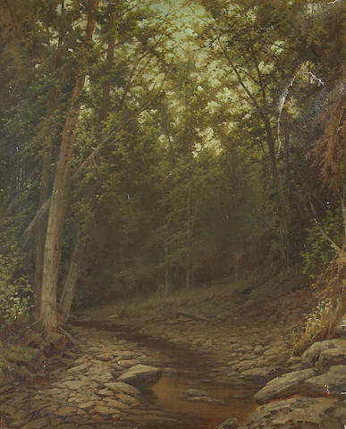 William W. Boyle (American late 19th century) A forest interior 27 x 22in