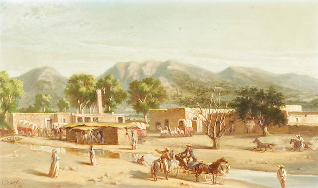 Ernest Etienne Narjot (1826-1898) Daily Life in Old Sonora, 1873. 12 x 20in
