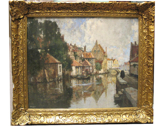 Hendrick (Henri) Cassiers (Belgian, 1858-1944) A view of a canal on a sunny day 18 x 22in (45.8 x 55.9cm)