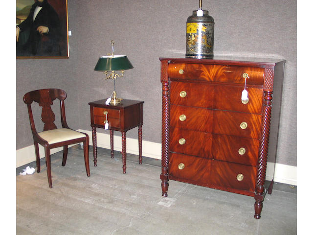 An American Empire style mahogany bedroom suite