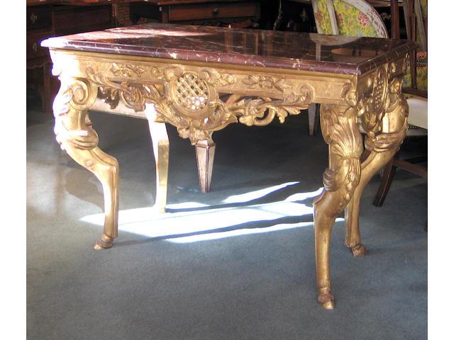 A fine Régence giltwood table de milieu