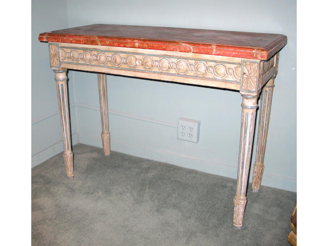 A good pair of Louis XVI parcel gilt and faux marble painted console tables Last Quarter 18th Century