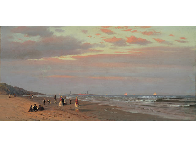 Francis Augustus Silva (1835-1886) Long Branch Beach, 1871 12 x 24in