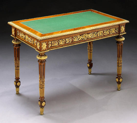 A Louis XVI style gilt-bronze mounted kingwood table a ecrire Stamped GROHE Fres Second half 19th century