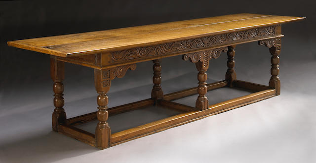 A Charles II oak refectory table Fourth quarter 17th century