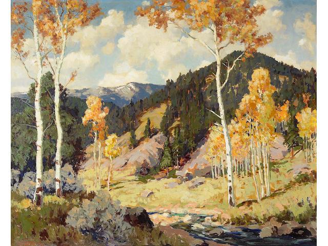 Fremont Ellis (1897-1985) Aspens, Santa Fe Canyon 24 x 30in