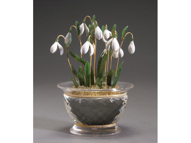 Snow Bells in Rock Crystal Vase.