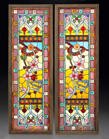 A pair of stained glass windows