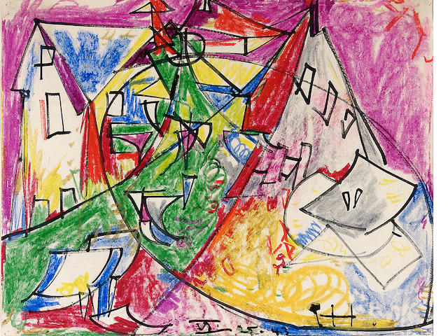 Hans Hofmann, Untitled(Provincetown) VI-25-43, Ink and Crayon on Paper, Provenance: Gift of the artist to the mother of the current owner, Private Collection, California
