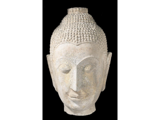 A fine carved stone Head of Buddha