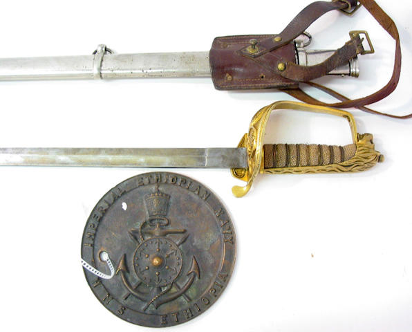A scarce Ethiopian naval officer's sword together with a plaque from the HMS Ethiopia