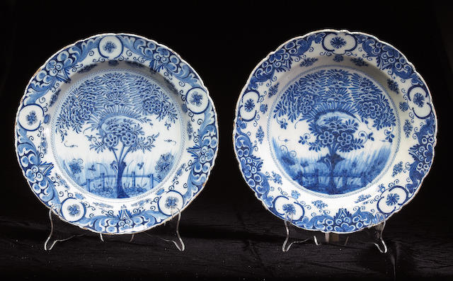 A pair of Dutch blue and white tin glazed plates Early 19th century
