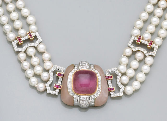 A cultured pearl, gem-set and eighteen karat gold necklace