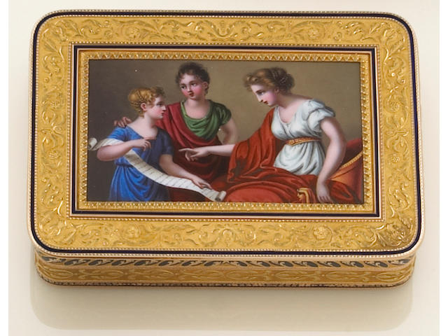 An enamel and fourteen karat gold box, Austria,