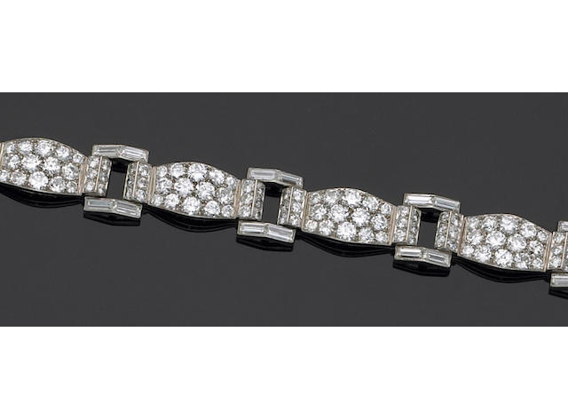 A diamond and platinum bracelet, Cartier, Paris,