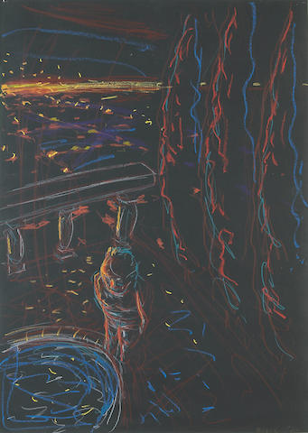 Robert Yarber  (American, b. 1948)<br>Nocturnal Scene with Figure Falling Feet First, 1983 27 1/2 x 19 3/4in (70 x 50cm)
