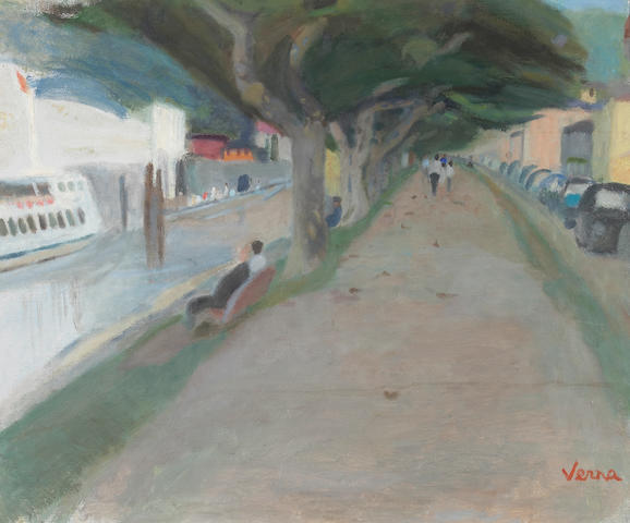 Germaine Verna (French 1900-1975) La Quai d' Ascona 21½ x 25½in (54 x 65cm)