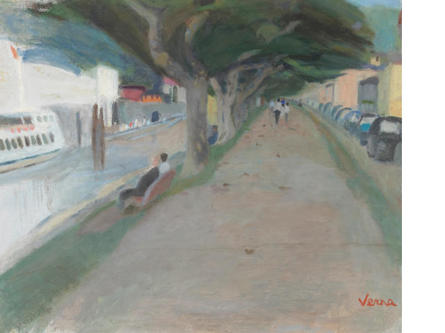 Germaine Verna (French, 1900-1975)<br>La Quai d' Ascona 21 1/2 x 25 1/2in (54 x 65cm)