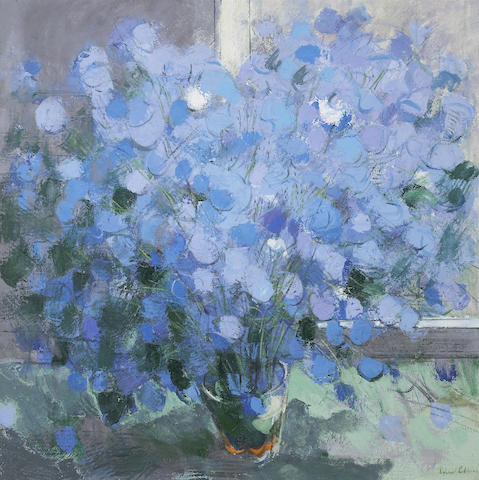Richard Robbins (British, b. 1972)<br>Blue Flowers II 36 x 36in (91 1/2 x 91 1/2cm)