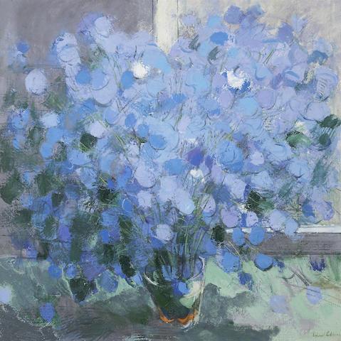 Richard Robbins (British, b. 1972)<br>Blue Flowers II 36 x 36in (91 1/2 x 91 1/2cm)