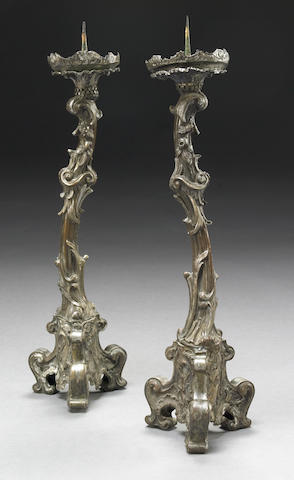 A pair of Italian Rococo silvered copper prickets First half 18th century