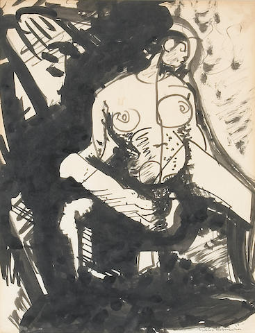 Hans Hofmann, Figure, 1935, Ink Wash on Paper, Private Collection Monarch Beach, CA