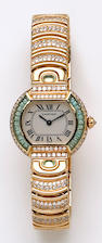 A lady's Cartier, Swiss gold, diamond, enamel and green beryl bracelet wristwatch,