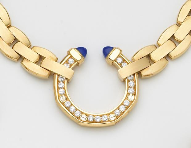 A set of diamond, lapis lazuli and eighteen karat gold jewelry, Audemars Piguet,