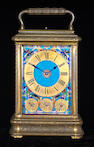A French gilt brass and cloisonne grande sonnerie giant carriage clock<br><i>Drocourt, numbered 16289<br>Late 19th century</i>