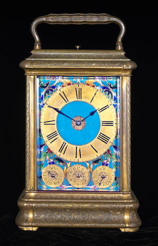A French gilt brass and cloisonne grande sonnerie giant carriage clock Drocourt, numbered 16289 Late 19th century
