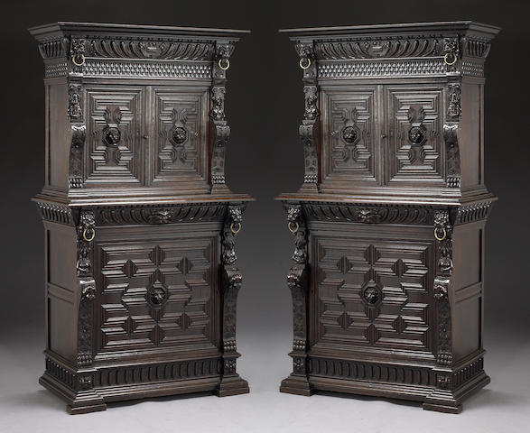 A pair of Flemish Baroque style carved oak cabinets Fourth quarter 19th century