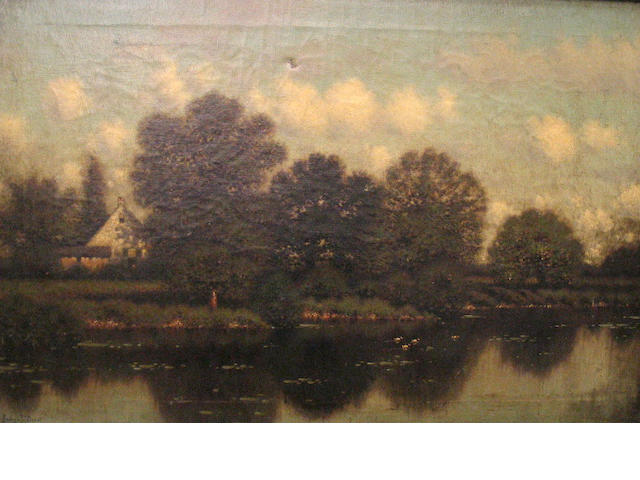 George Drew, Houses and Pond Landscape, o/c