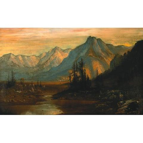 Henry Arthur Elkins (American 1847-1884) A mountain valley under the rising sun 22 x 36in