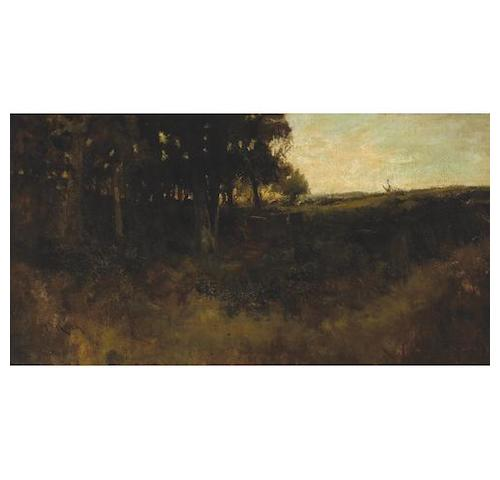 William Keith (American, 1838-1911) A forest clearing at sunset 16 x 31in