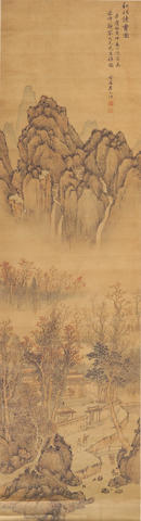 School of Zhai Dakun (Circa 1730-1804): Studio in Autumn Landscape <i>19th Century</i>
