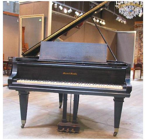 An ebonized baby grand piano<br><i>Mason and Hamlin</i>