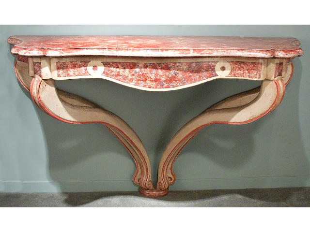 A fine pair of Northern Italian Rococo faux marble and painted console tables